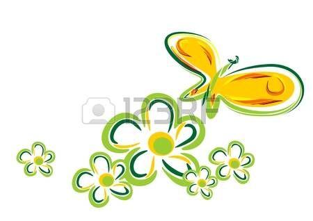 Fiori Vettoriali.Fiori Stilizzati Farfalla Stilizzata E Fiori Isolati Su Uno