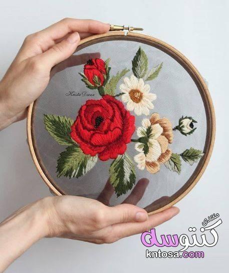 بالصور التطريز على التل تطريز ورود بالخيط على القماش ابداع فى التظريز على التل Kntosa Com Crewel Embroidery Crewel Embroidery Tutorial Hand Embroidery Patterns