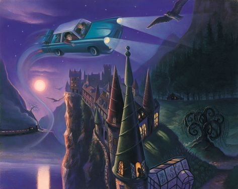 Harry Potter Enchanted Car Mary GrandPre SIGNED Giclee on Fine Art Paper Limited Edition of 250