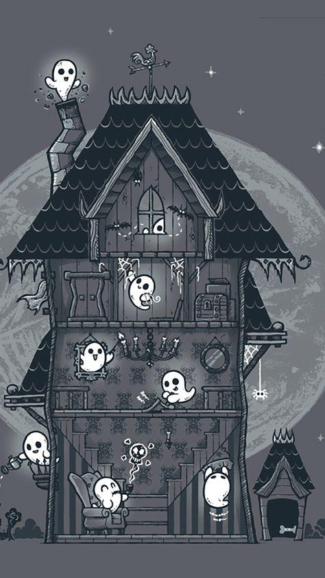 vintage halloween u2022 365daysofhalloween haunted house ghosties phone rh pinterest com
