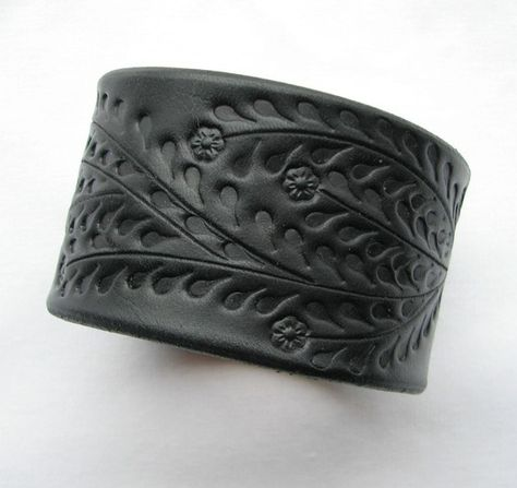 Leather Wristband / Cuff Wide Hand Tooled Full by aosLeather