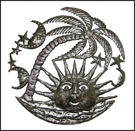 "Caribbean Sun Beach Scene Metal Wall Hanging - Haitian Recycled Steel Oil Drum Art - 24"" _ $84.95 -  Steel Drum Metal Art from  Haiti - Interior or Garden Décor   * Found at  www.HaitiMetalArt.com"