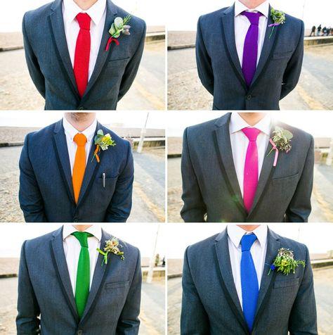 Mismatched colour pop groomsmen modern ushers