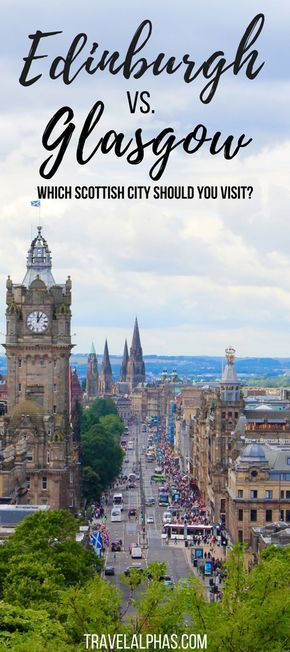 Well, it's time to confront one very controversial topic head on: Edinburgh versus Glasgow. Which Scottish city is better? And which city should you visit during your trip to Scotland? Though only 51 miles separate the two cities, they couldn't be more di Scotland Vacation, Scotland Travel, Ireland Travel, Scotland Trip, Edinburg Scotland, Italy Travel, Glasgow City, Highlands, Outlander