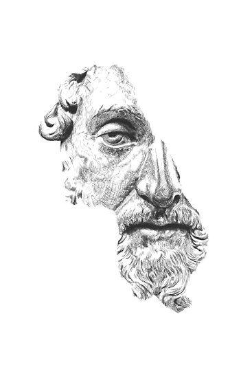 Digitale Porträtzeichnung vom Philosophen und römischen Kaiser Marcus Aurelius nach Vorlage einer Skulptur aus dem Louvre (Paris). / // / / / WERKZEUGE: Adobe Photoshop. • Also buy this artwork on wall prints, apparel, stickers und more.
