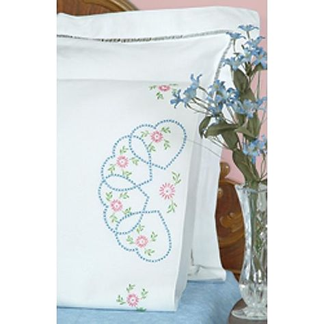 Rose Hearts Stamped embroidery Pillow