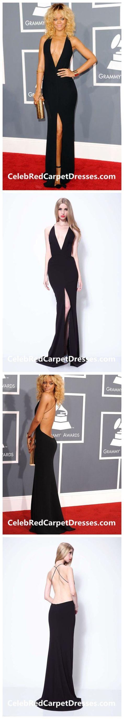 Rihanna Black Plunging V-neck Backless Celebrity Dresses ...