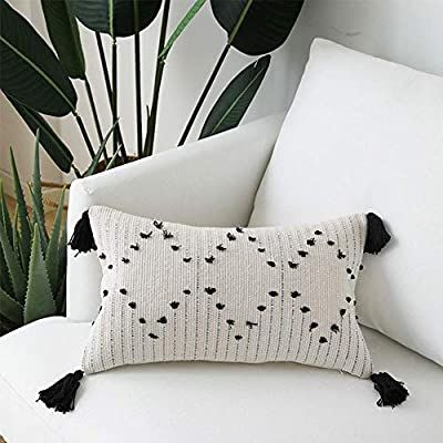 Amazon Com Boho Pillow With Tassels Cotton Woven Throw Pillow Cover Lumbar 12 X20 For Sofa Bedroom Living Roo Boho Throw Pillows Woven Pillows Pillow Covers