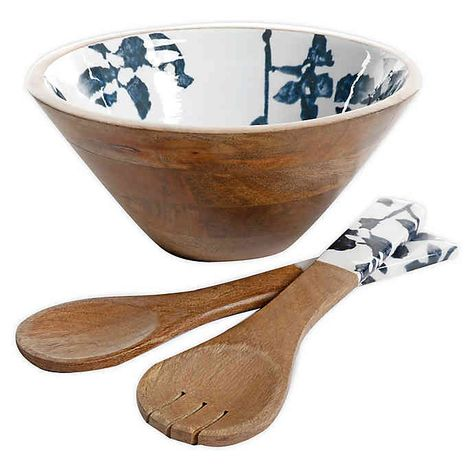 Bee Willow Home Milbrook Salad Bowl With Servers In Blue Floral Bed Bath Beyond Wooden Salad Bowl Salad Bowls Bowl