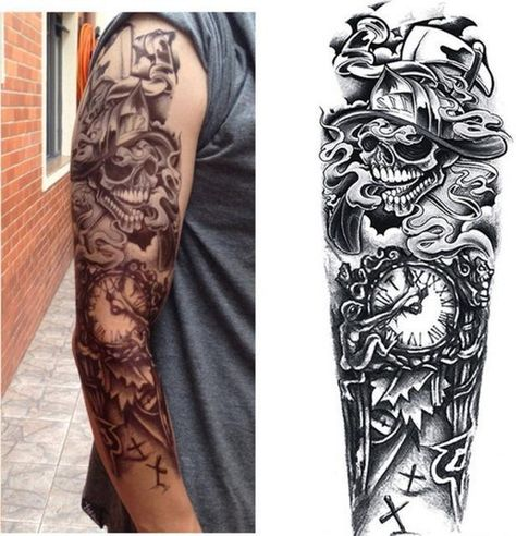 1Pc Full Arm Tattoo Stickers Large Flower Shoulder Fake Tattoos Sleeve For Man Body Paint Death