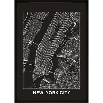 Print In Lijst New York City Map 50x70 Kopen Karwei New York New York City Hoofdbord