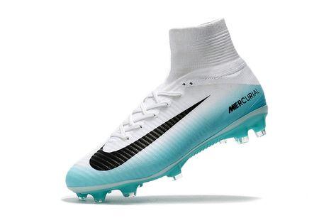NIke Mercurial Superfly V FG White Sky blue   Nike soccer
