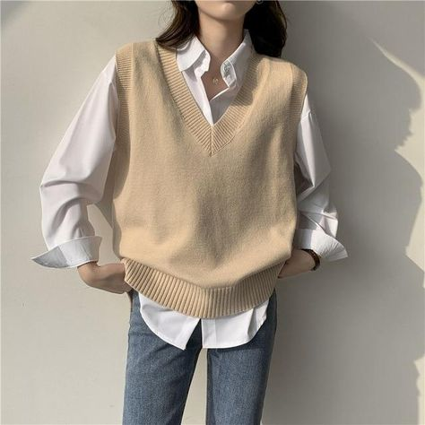 Sweater Vest Women V-neck Solid Simple Slim All-match Casual Korean Style Teens Chic Fashion Autumn Winter Sleeveless Sweaters - S / khaki