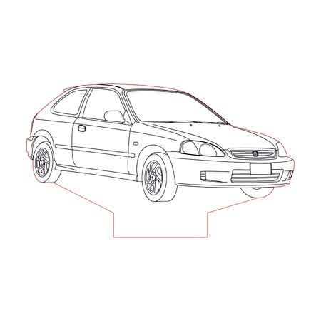Honda Civic Ek 3d Illusion Lamp Plan Vector File Honda Civic