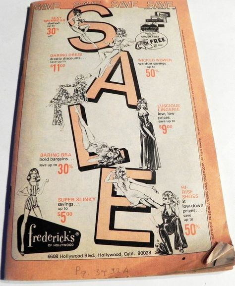 8d1b2b6d86 1970s Fredericks of Hollywood Lingerie fashion catalog vintage sex appeal  pinup illustration panties shoes 1976 risque