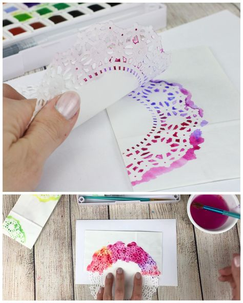 Hand Stenciled Paper Treat Bags- Lacy Watercolor Prints