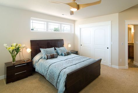 Basement bedroom - light colors with dark furniture | Bedrooms | Pinterest  | Basement bedrooms, Basements and Light colors