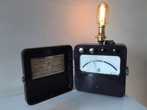Steampunk Lamp Vintage Bulb Bakelite Electric Amp Meter upcycled - ebay küchenmöbel gebraucht