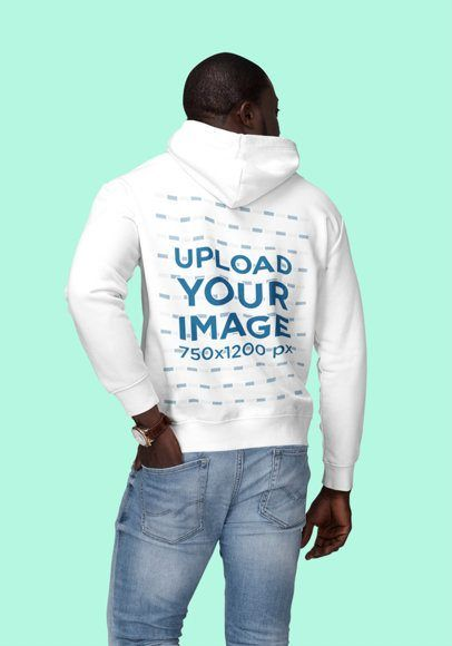 Download Placeit Back View Mockup Of A Man Wearing A Customizable Hoodie At A Studio Hoodies Hoodie Mockup Mockup Design