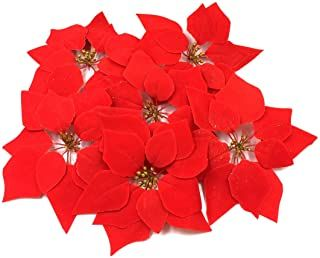 M2cbridge 24 Pieces Artificial Flower Red Poinsettia Head With Glitter Pollen For Christmas Ornaments No Stem Pride Diy Rustic Cool Party Event Diy Tabl