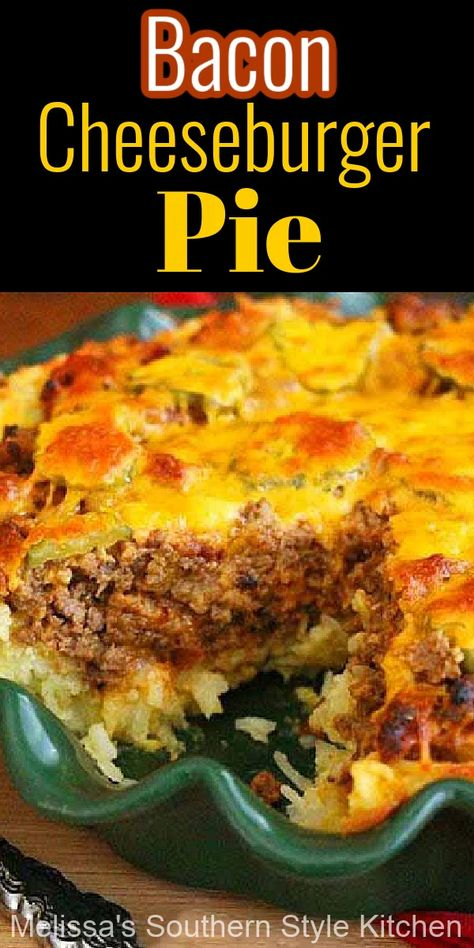 This mouthwatering Bacon Cheeseburger Pie is a riff on classic cheeseburgers that's budget friendly and simple to make #cheeseburgers #bacon #baconcheeseburgers #cheeseburgerpie #cheeseburgerrecipes #beef #easygroundbeefrecipes #hashbrowns #savorypies #easydinnerrecipes #groundbeefrecipes #southernstyle