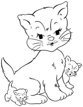 Ausmalbild Katze Mit 2 Babys Zum Ausmalen Ausmalbilder