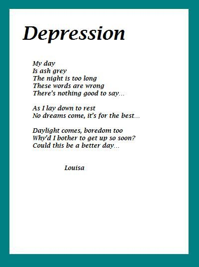 X Treme Studying And Poem Of The Week Depression Survival