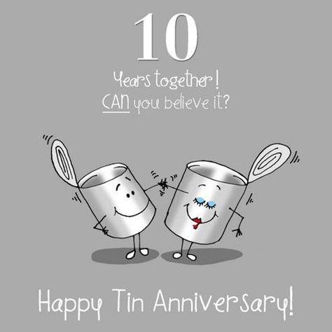 10th Wedding Anniversary Greetings Card Tin Anniversary