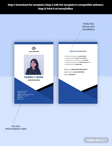 Free Sample Software Company Id Card Template In 2020 Company Id Id Card Template Card Template