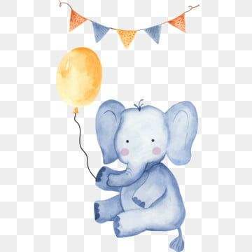 Cute Cartoon Elephant Sits And Holds Balloon On Rope Animal Baby Shower Birthday Png And Vector With Transparent Background For Free Download Elephant Background Baby Art Cartoon Elephant