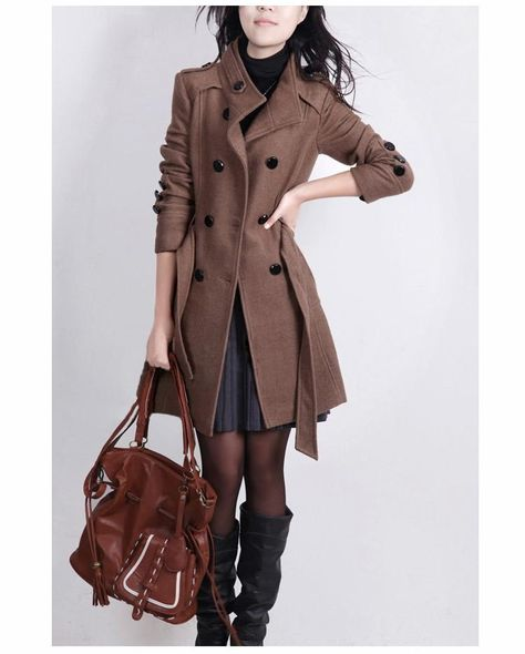 New 2016 casacos femininos women coat Women's Slim Double-breasted Woolen Coat Autumn Winter wool coat