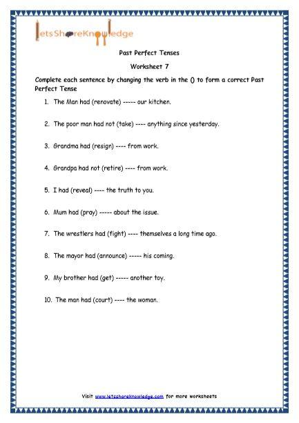 Past Perfect Tenses Printable Worksheets Worksheet | Education ...