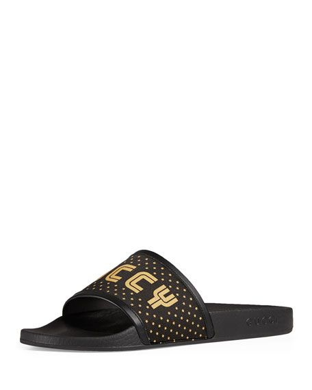 3395bffc2 GUCCI Leather-Trimmed Logo-Print Rubber Slides, Black/Gold | gucci ...