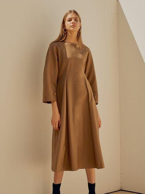 18FW SQUARE NECK BALLOON DRESS BROWN