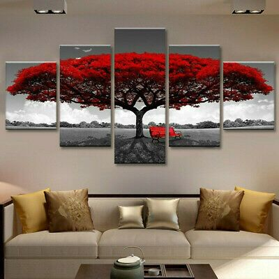 5Pcs Red Tree Modern Canvas Oil Painting Wall Art Home Picture Print Decor Gift