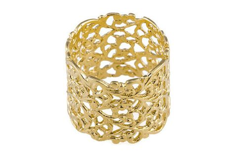 Beste Lace gouden ring. Lace ring. Brede gouden ring. Brede ring. Brede YV-01