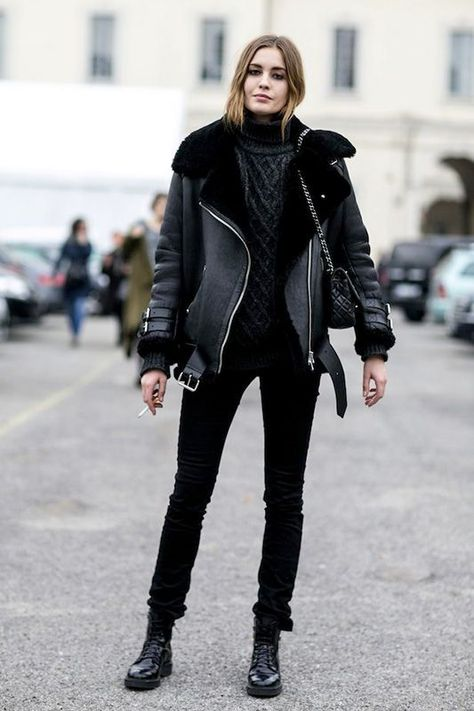 CLICK on the photo TO SHOP this amazing winter jacket :) New black faux leather shearling warm women aviator coat winter pilot jacket fall winter ladies cozy casual outfit for work office black pants black shearling motorcycle unisex jacket men autumn winter street style moto look #shearlingjacket #shearling #winter #winterfashion #winteroutfits #luxury