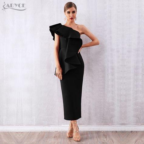 Summer women celebrity party dress vestidos verano sleeveless ruffles wine red one shoulder bodycon club dress