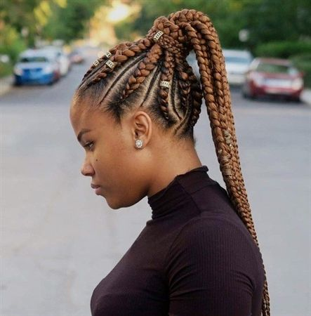 Thick And Thin Cornrows To Ponytail Cornrowbraids Feed In Braids Hairstyles Feed In Braids Ponytail Hair Styles
