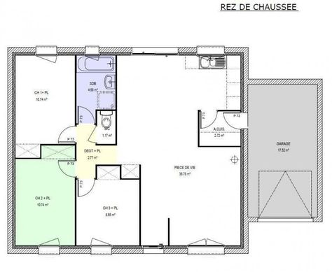 plan de maison plain pied en U maison Pinterest