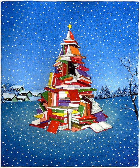 """yan nascimbene \""""tree of books\"""" for \""""barnes \u0026 noble christmasyan nascimbene \""""tree of books\"""" for \""""barnes \u0026 noble christmas\"""" watercolor flickr photo sharing!"""