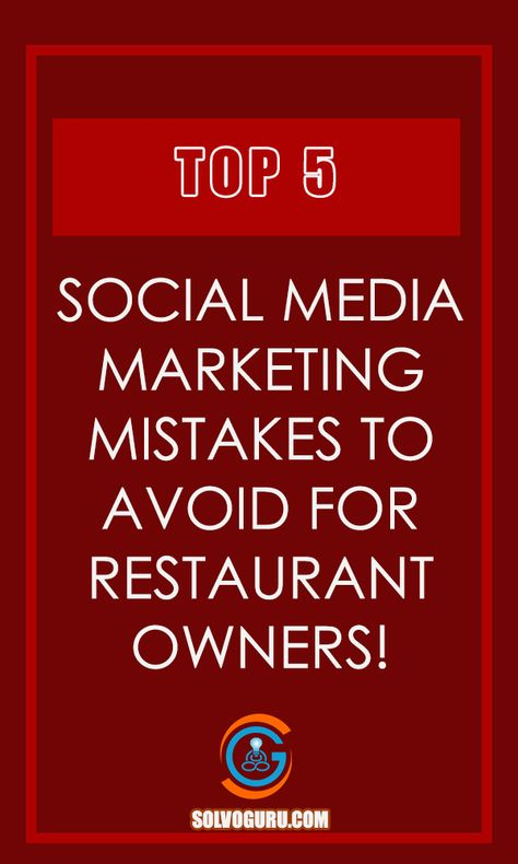 Unfortunately, not many restaurateurs understand the importance of being on social media and which is why the names of their restaurants never make themselves to the top list of restaurants. So in the link, there are top 5 social media marketing mistakes to avoid for restaurant owners.     #socialmedia #socialmediamarketing #restaurants #restaurantowners #restauranttips #restaurantsocialmediatips  #restaurantentrepreneurship #restaurantbusiness #restaurantentrepreneur #solvoguru