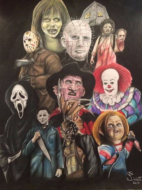 Classic Horror Print A4 Pennywise Freddy Kruger Halloween Etsy Horror Prints Horror Movie Icons Classic Horror