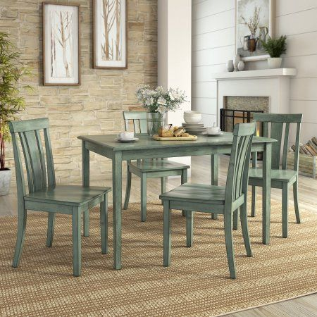 Lexington 5 Piece Dining Set With 4 Slat Back Chairs Green