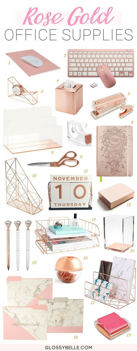 The Ultimate List Of Rose Gold Office Supplies & Desk Accessories, Home Accessories, Looking to add some glitz and glam to your home office or your work desk? You'll definitely want to check out my ultimate list of rose gold office sup. Work Desk Decor, Study Room Decor, Office Organization At Work, Cute Room Decor, Office Desk Decorations, Decorate Desk At Work, Work Cubicle Decor, Office Cubicle, Decorating Office Desks