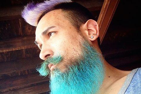 La nouvelle mode chez les hommes ? Se teindre la barbe en couleur flashy ! - http://www.leshommesmodernes.com/barbe-teinture-flashy/