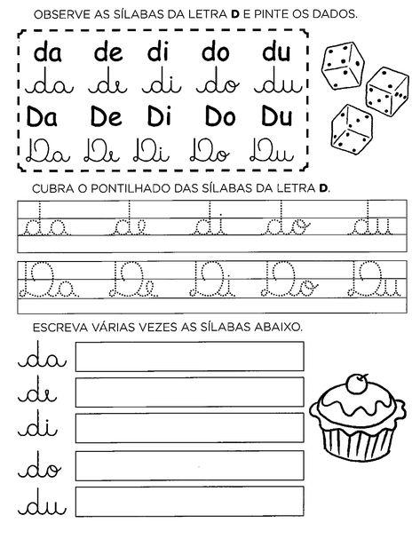 30 Atividades Com Da De Di Do Du Para Imprimir Letra D