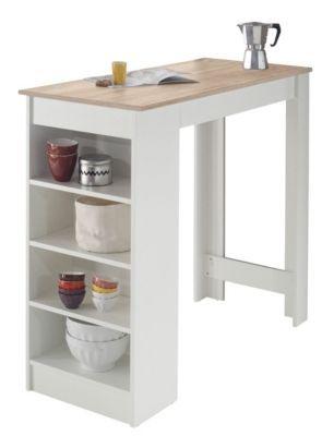 Table Bar Colada Blanc Et Imitation Chene Mobilier Salons Et