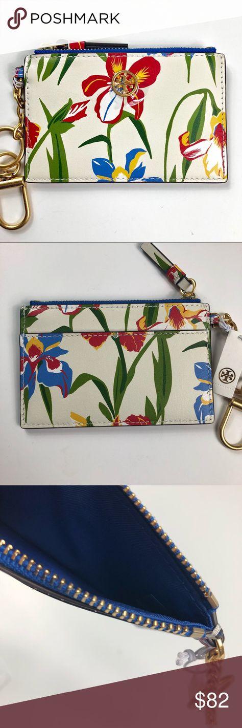 New Tory Burch Robinson Floral Card Case Key Fob Nwt My Posh Picks