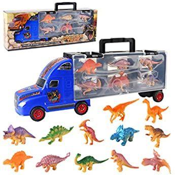BeebeeRun Dinosauri Macchinine Giocattolo per Bambini,Giocattoli Bambino 3 Anni Ragazzi e Ragazze,Trasportatore Giocattoli del Camion Dinosauri Giocattoli Regali